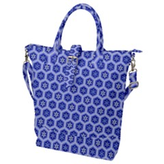 Hexagonal Pattern Unidirectional Blue Buckle Top Tote Bag
