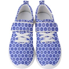 Hexagonal Pattern Unidirectional Blue Men s Velcro Strap Shoes by Mariart