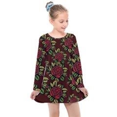 Seamless Tile Background Abstract Kids  Long Sleeve Dress by AnjaniArt