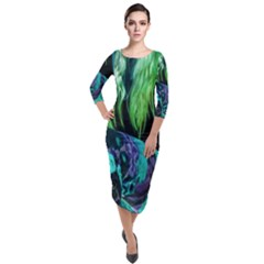 Digital Art Woman Body Part Photo Quarter Sleeve Midi Velour Bodycon Dress by dflcprintsclothing