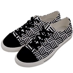 Black And White Basket Weave Men s Low Top Canvas Sneakers