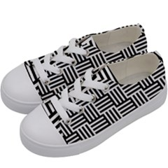 Black And White Basket Weave Kids  Low Top Canvas Sneakers