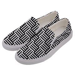 Black And White Basket Weave Men s Canvas Slip Ons