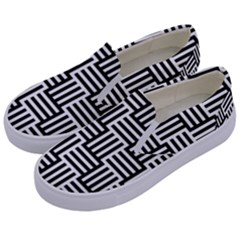 Black And White Basket Weave Kids  Canvas Slip Ons
