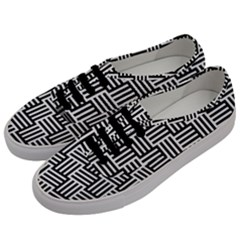 Black And White Basket Weave Men s Classic Low Top Sneakers