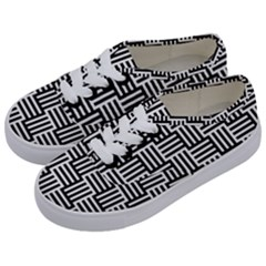 Black And White Basket Weave Kids  Classic Low Top Sneakers