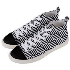 Black And White Basket Weave Men s Mid-Top Canvas Sneakers