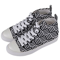 Black And White Basket Weave Women s Mid-Top Canvas Sneakers