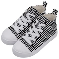 Black And White Basket Weave Kids  Mid-Top Canvas Sneakers