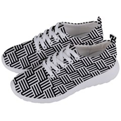 Black And White Basket Weave Men s Lightweight Sports Shoes
