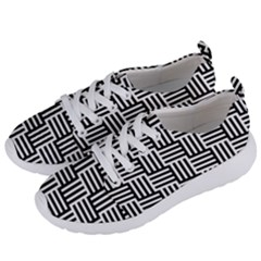 Black And White Basket Weave Women s Lightweight Sports Shoes