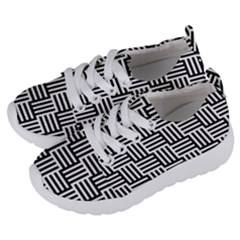 Black And White Basket Weave Kids  Lightweight Sports Shoes
