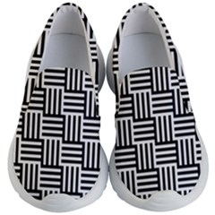 Black And White Basket Weave Kids  Lightweight Slip Ons