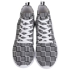 Black And White Basket Weave Men s Lightweight High Top Sneakers