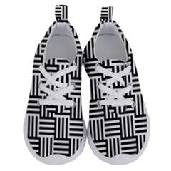 Black And White Basket Weave Running Shoes