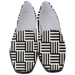 Black And White Basket Weave Women s Classic Loafer Heels