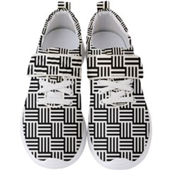 Black And White Basket Weave Men s Velcro Strap Shoes