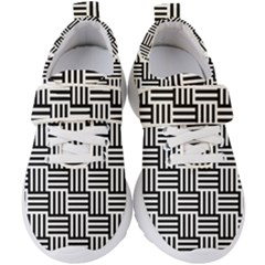 Black And White Basket Weave Kids  Velcro Strap Shoes