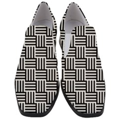 Black And White Basket Weave Slip On Heel Loafers