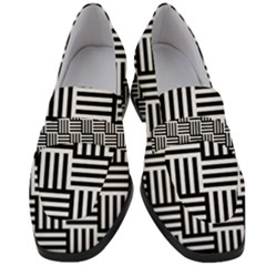 Black And White Basket Weave Women s Chunky Heel Loafers