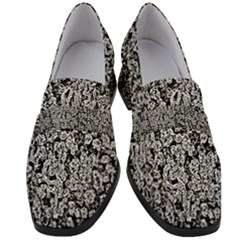Black And White Abstract Women s Chunky Heel Loafers