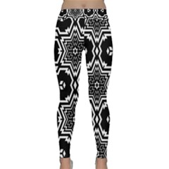 Black White Abstract Flower Classic Yoga Leggings by retrotoomoderndesigns