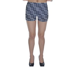 Black And White Basket Weave Skinny Shorts