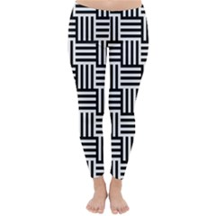 Black And White Basket Weave Classic Winter Leggings