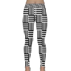 Black And White Basket Weave Classic Yoga Leggings