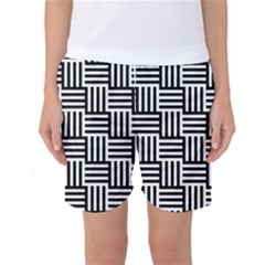 Black And White Basket Weave Women s Basketball Shorts