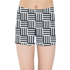 Black And White Basket Weave Kids  Sports Shorts