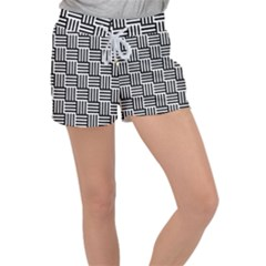 Black And White Basket Weave Women s Velour Lounge Shorts