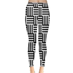 Black And White Basket Weave Inside Out Leggings