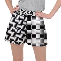 Black And White Basket Weave Stretch Ripstop Shorts
