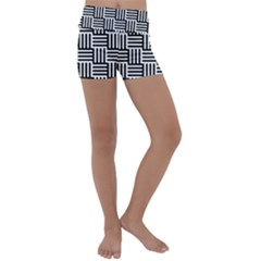 Black And White Basket Weave Kids  Lightweight Velour Yoga Shorts