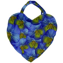 Flowers Pansy Background Purple Giant Heart Shaped Tote by Mariart