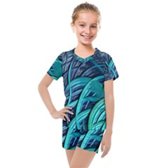 Oceanic Fractal Turquoise Blue Kids  Mesh Tee And Shorts Set by AnjaniArt