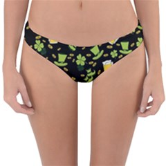 St Patricks Day Pattern Reversible Hipster Bikini Bottoms by Valentinaart