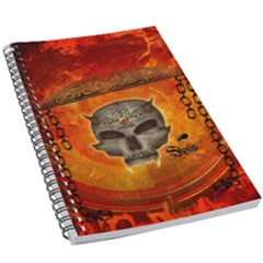 Awesome Skull With Celtic Knot With Fire On The Background 5 5  X 8 5  Notebook by FantasyWorld7