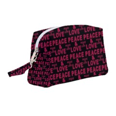Peace And Love Typographic Print Pattern Wristlet Pouch Bag (medium) by dflcprintsclothing