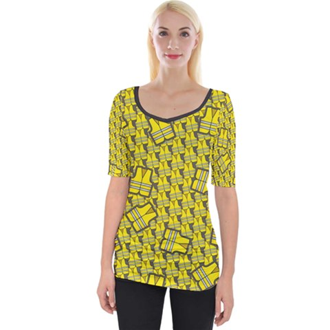 Gilet Jaune Pattern Yellowvests Cowcow Gilet Jaune Pattern Funny Yellow Vests Wide Neckline Tee by snek