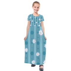 Gardenia Flowers White Blue Kids  Short Sleeve Maxi Dress by Jojostore