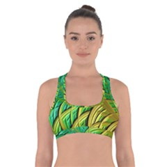 Patterns Green Yellow String Cross Back Sports Bra