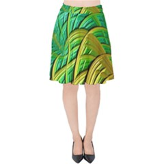 Patterns Green Yellow String Velvet High Waist Skirt by Alisyart
