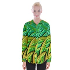 Patterns Green Yellow String Womens Long Sleeve Shirt