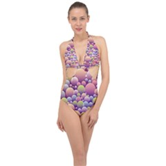 Abstract Background Circle Bubbles Halter Front Plunge Swimsuit by AnjaniArt