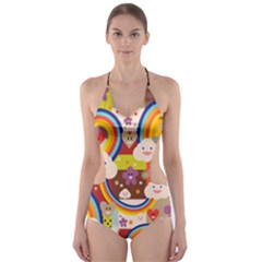 Rainbow Vintage Retro Style Kids Rainbow Vintage Retro Style Kid Funny Pattern With 80s Clouds Cut-out One Piece Swimsuit by genx