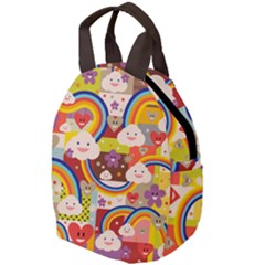 Rainbow Vintage Retro Style Kids Rainbow Vintage Retro Style Kid Funny Pattern With 80s Clouds Travel Backpacks by snek