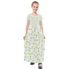 St Patricks Day Pattern Kids  Short Sleeve Maxi Dress by Valentinaart