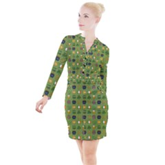 St Patricks Day Pattern Button Long Sleeve Dress